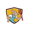 Dog Plumber Running Monkey Wrench Shield Cartoon vector image vector image