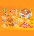 family beach vacation flowchart vector image vector image