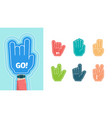 fans fingers hands gestures for stylized cheering vector image