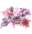 floral element at watercolor background vector image vector image