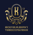 golden monogram template in beautiful wreath vector image vector image
