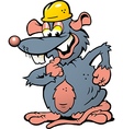 Hand-drawn of an Happy Smiling Rat with yellow vector image vector image