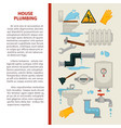house plumbing information poster or vector image vector image