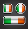 Ireland flag glass buttons vector image