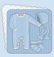 knitted collection for a newborn boy blue vector image