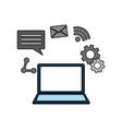 laptop computer social media network vector image vector image