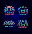 merry christmas neon label set vector image vector image