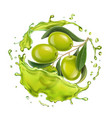 olive branch in realistic olive oil splash vector image vector image
