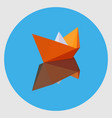 orange paper boat with the reflection vector image vector image