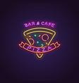 pizza neon banner vector image vector image