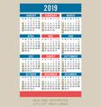 pocket calendar 2019 start on sunday vector image