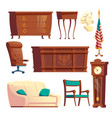 president oval office furniture cartoon set vector image vector image