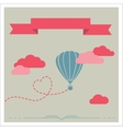 retro card with aerostat flying in clouds vector image