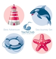 Sea travel icon set with seafaring icons vector image vector image