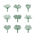 set green trees with leafs vector image