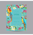 Tropical Parrot Birds and Flowers Colorful Frame vector image vector image
