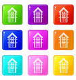 two-storey house with balconies icons 9 set vector image vector image