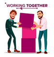 working together concept businessman busy vector image