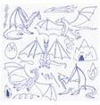 dragons doodle set vector image