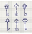 Set of sketch ornamental keys vector image