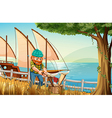 A hardworking man chopping woods at the riverbank vector image vector image