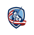 American Patriot Soldier Waving Flag Shield vector image vector image