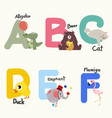 animal alphabets for children from a to f vector image vector image