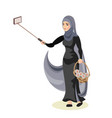 arab woman taking selfie vector image vector image