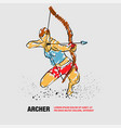 archer girl with bow outline archer vector image
