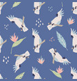 beach tropical seamless pattern with cockatoos vector image vector image