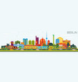 berlin germany skyline with color buildings and vector image vector image