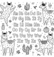black and white alphabet with cute llamas abc vector image