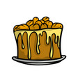 brown sweet cake with fresh nuts yellow honey vector image vector image