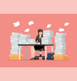 busy overworked woman sitting at table vector image