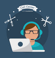 call center man working with headset vector image vector image