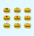cartoon burger cute character face sticker vector image vector image