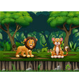 cartoon lion and tiger living in jungle vector image vector image