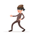 criminal thief sneak walk cartoon character vector image vector image