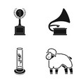cup gramophone and other web icon in black style vector image vector image