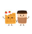cute smiling funny viennese waffle vector image vector image