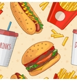 Fast food Set of cartoon icons on the vector image