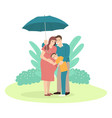 father holding an umbrella for his family vector image vector image