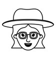female face with glasses and hat and short wavy vector image