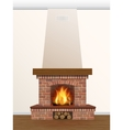 Fireplace with burning fire vector image vector image