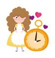 girl and clock hearts love cartoon characters vector image