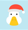goose wearing santa hat flat icon design vector image vector image