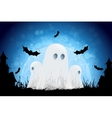 Halloween Background with Moon and Ghosts vector image vector image