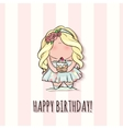 Happy Birthday card for girl cute little doodle vector image