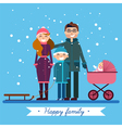 Happy Family with Newborn Baby on Winter Holiday vector image vector image