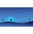 Happy people skiing sport at night landscape vector image vector image
